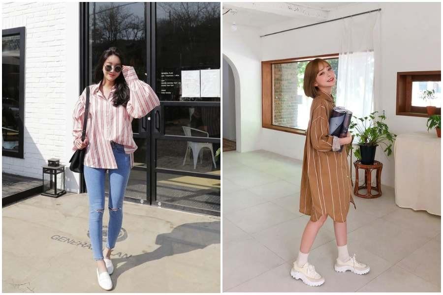10 Ootd Baju Motif Garis Garis Ala Korea Untuk Tubuh Pendek Agar Tinggi Womantalk