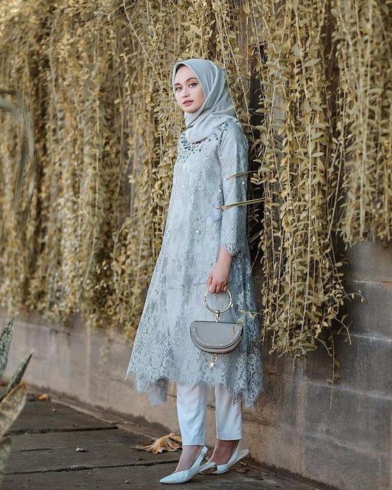 8 Model Baju Pesta Brokat Dan Celana Panjang Untuk Hijaber Womantalk