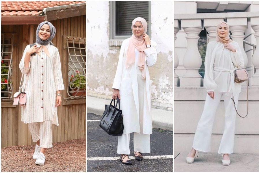 9 OOTD  Hijab Dengan Baju  Putih yang Stylish dan Cocok